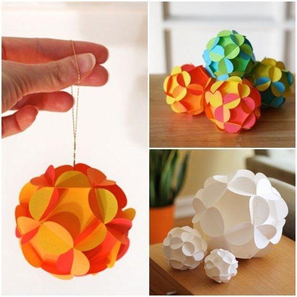 Объёмный мяч из бумаги. поделки с детьми