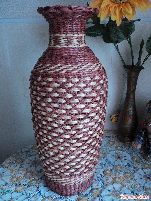 Ваза из газетных трубочек — пошаговая инструкция для начинающих как подготовить материал и сплести вазу (80 фото)