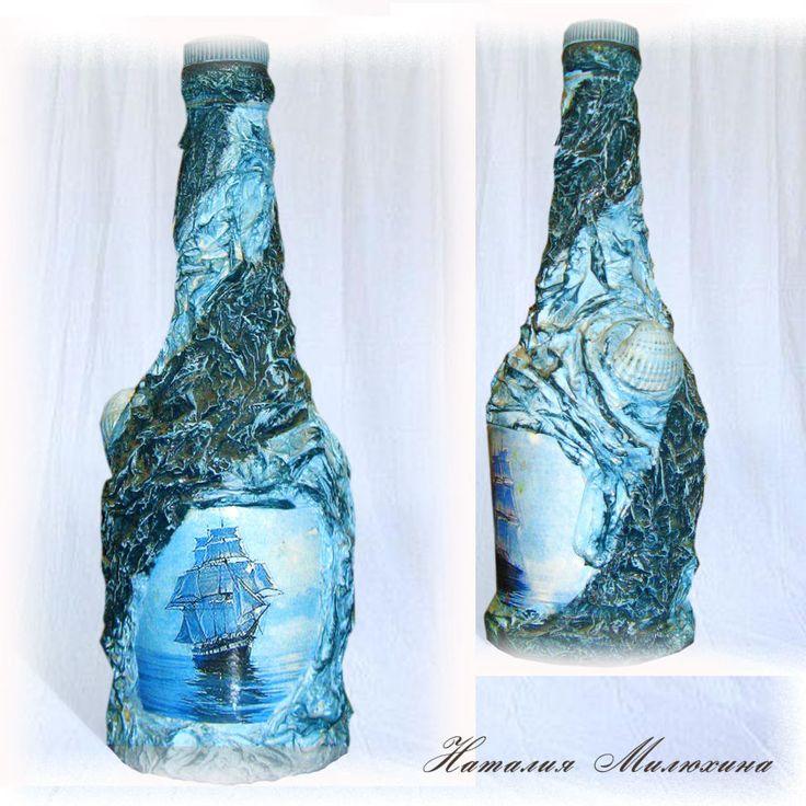 Декупаж в морском стиле своими руками. декоративная бутылка «воспоминания о море