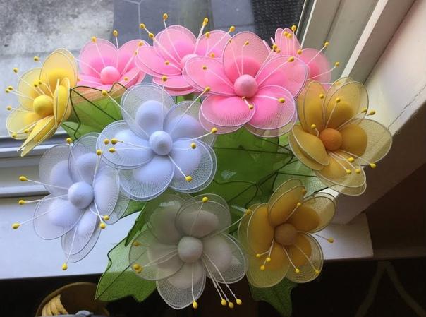 Как изготовить цветы из капрона своими руками - клуб рукоделия три иголки
