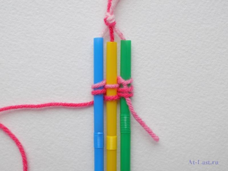 Плетение браслетов из цветных трубочек, техники плетения косичкой, аксельбант и косое плетение по схеме