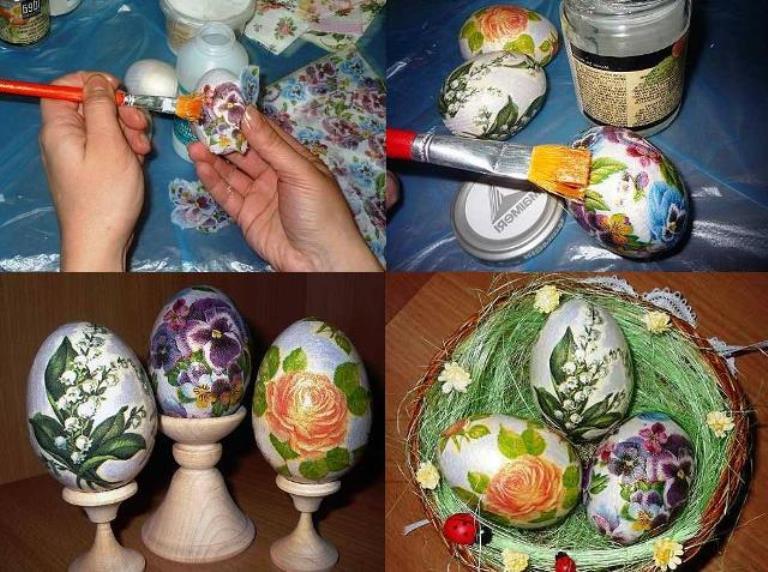 Декупаж пасхальных яиц. мастер-класс