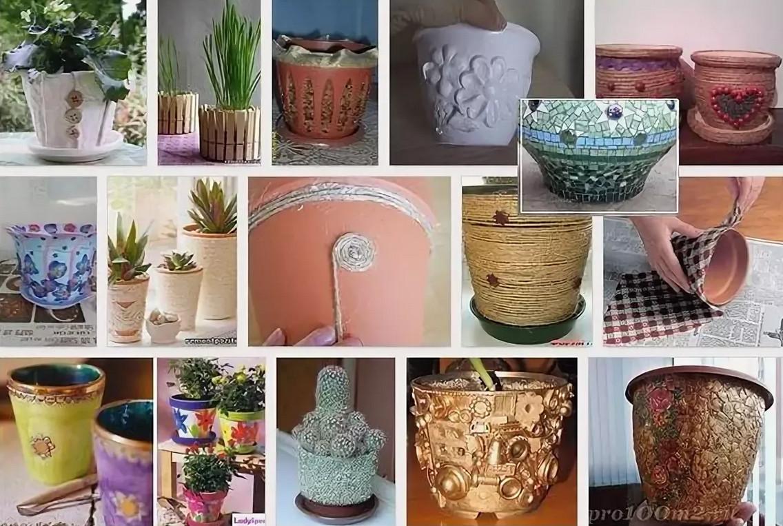 Декорирование горшков для цветов своими руками - дача, сад, огород, комнатные растения