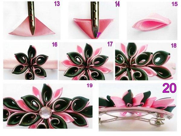 Канзаши: как крепить резинку или заколку к украшению из лент - 5 вариантов
