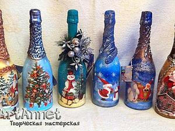 Декупаж бутылок к новому году своими руками