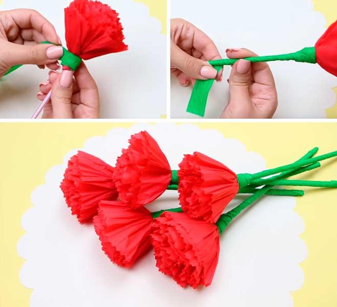 Как сделать гвоздику из бумаги. бумажные гвоздики своими руками