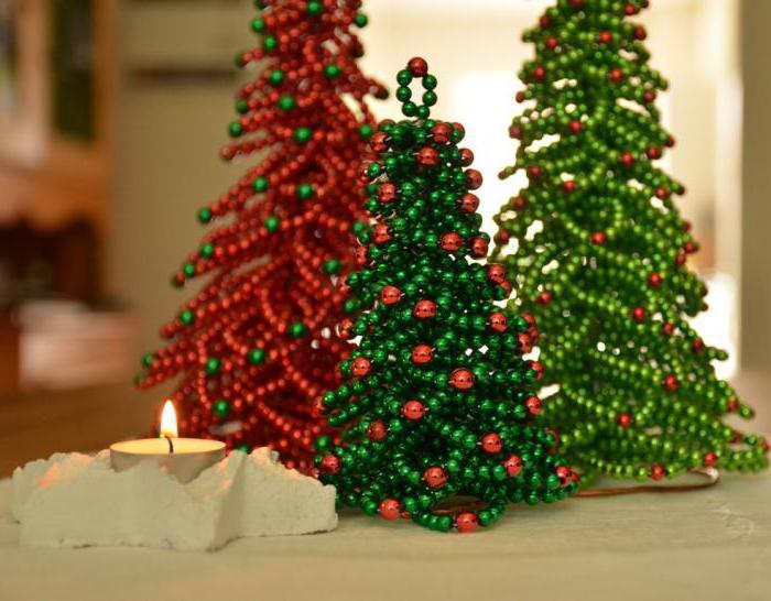 Настольные новогодние елки из бисера своими руками