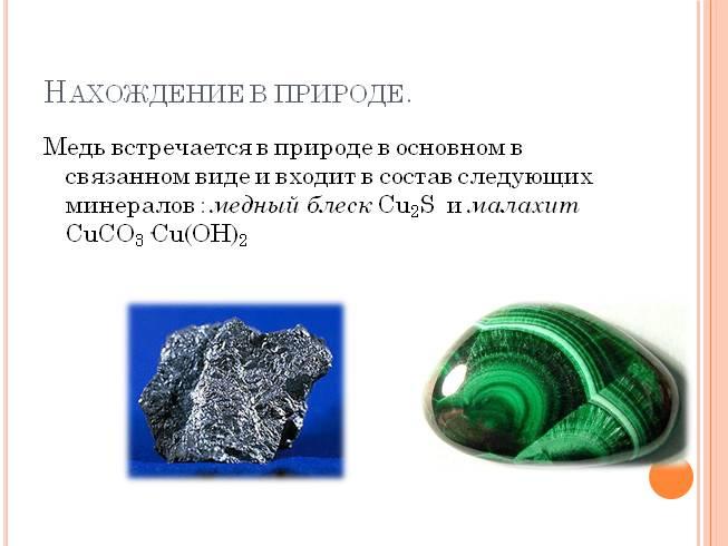 Медь и её природные соединения, синтез малахита