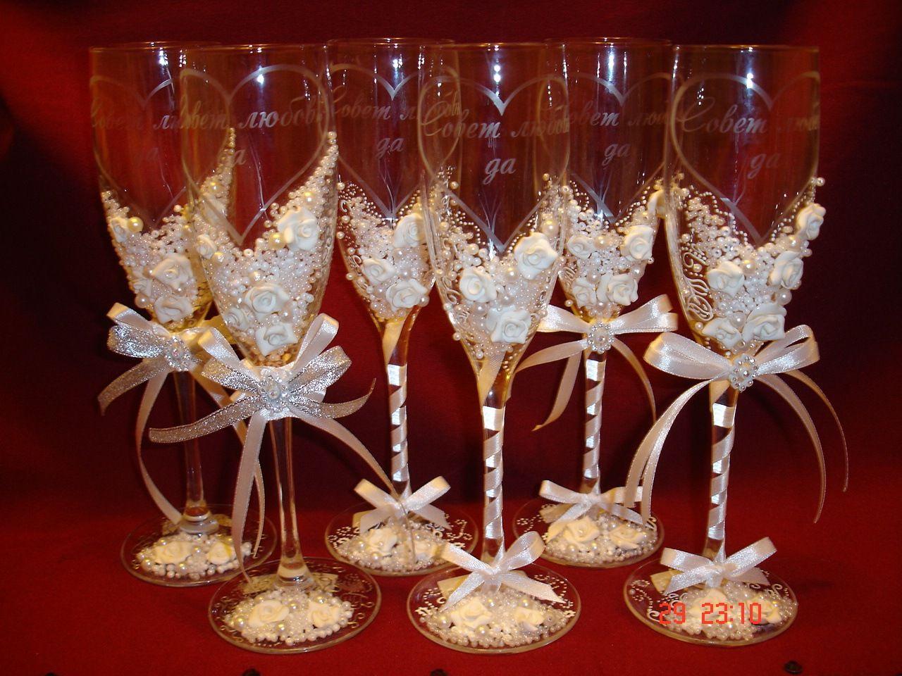 Бокалы на свадьбу своими руками (фото): оформление, видео