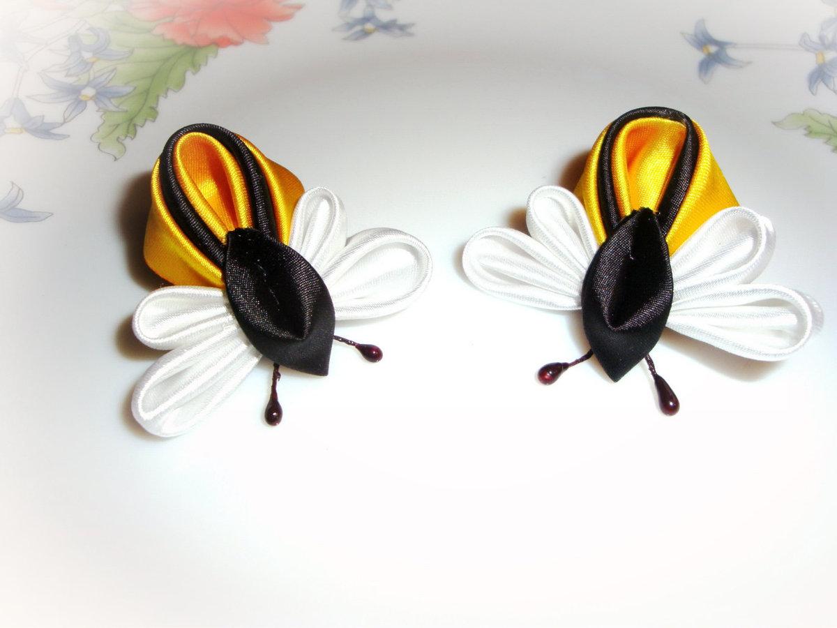 Делаем бабочку, стрекозу и божью коровку из атласных лент