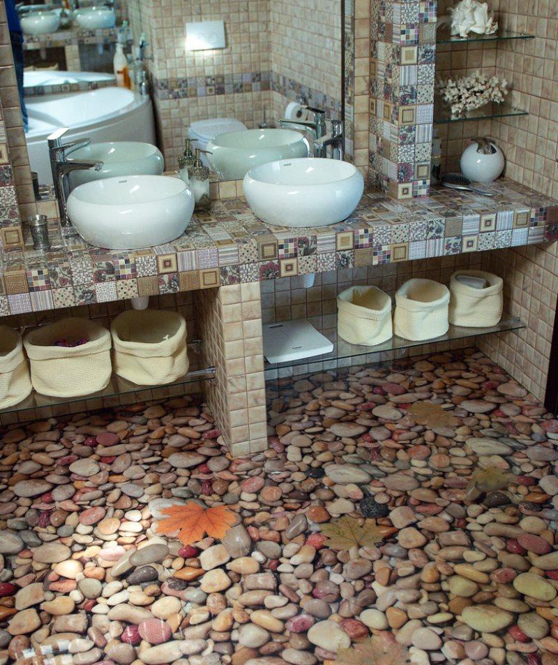 Пол из гальки в ванной комнате: обзор 3-х способов укладки необычного покрытия