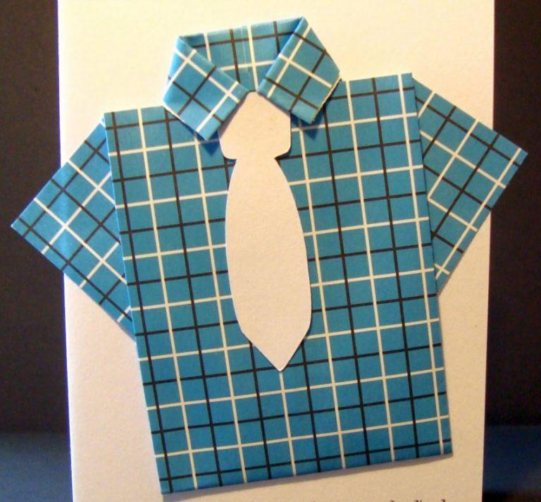 поздравительная открытка в виде мужской рубашки