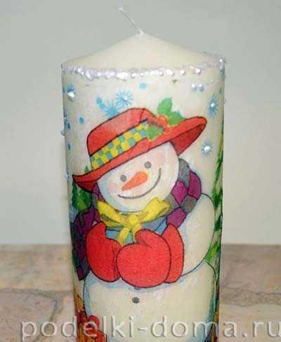 Декупаж свечей: салфетка своими руками на новый год, подсвечник и мастер-класс, фото деревянных и эффект свечения
