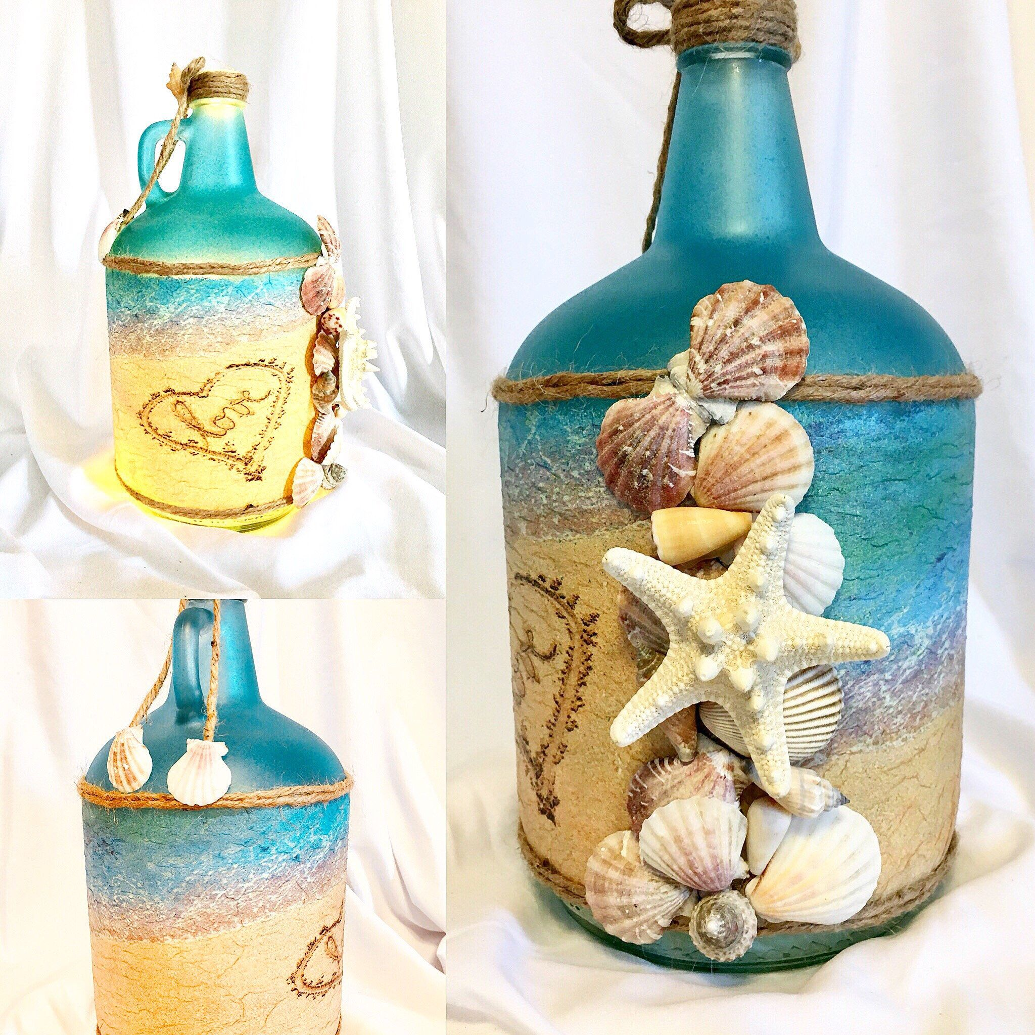 Украшение бутылки в морском стиле. декоративная бутылка «воспоминания о море