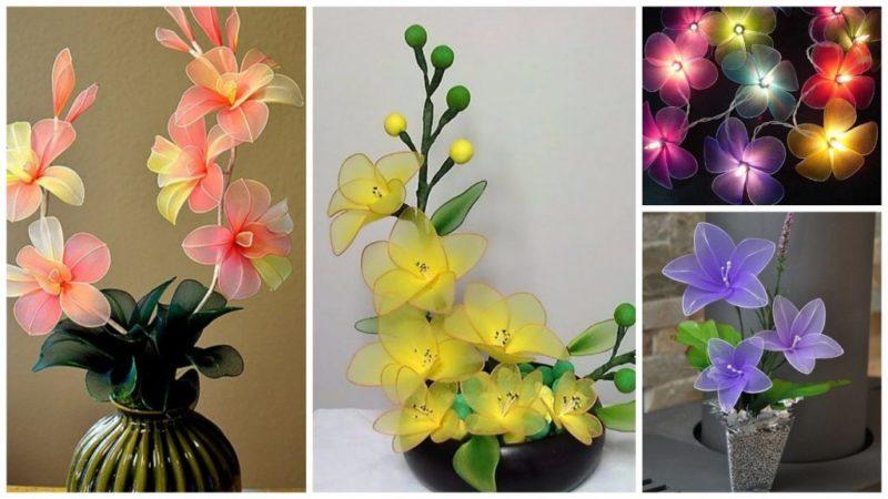 Цветы из капрона и проволоки. мастер-класс с пошаговыми фото