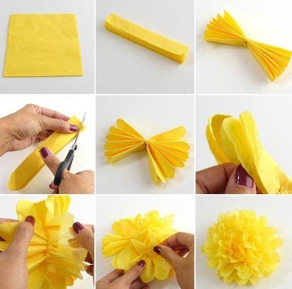 Простые цветы из салфеток своими руками схемы. как сделать из салфеток цветы
