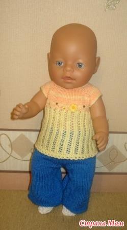 ᐉ вязанный пестрый костюм на куколку-пупса ростом 25 см - своими руками -