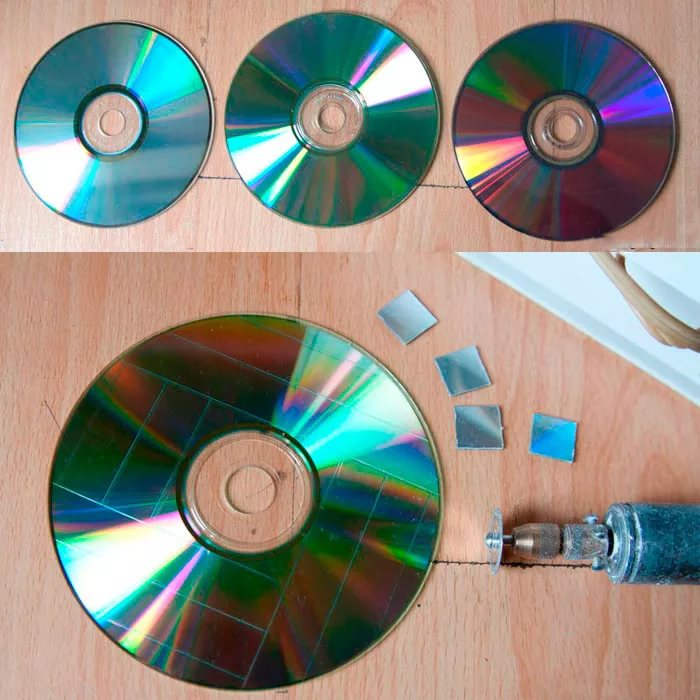 Мозаичная картина из дисков голуби — своими руками