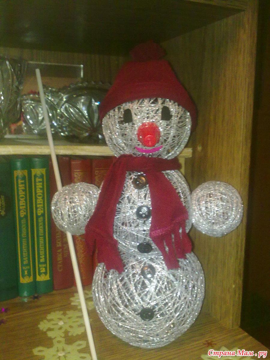 Снеговик из ниток своими. как сделать снеговика из ниток и шариков поэтапно? что нам понадобится для создания снеговика из ниток