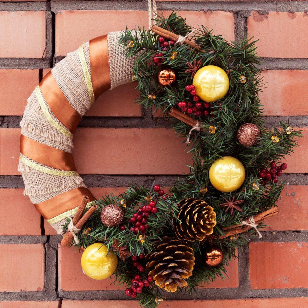 Рождественский венок своими руками + 50 фото идей новогодних венков на дверь и не только