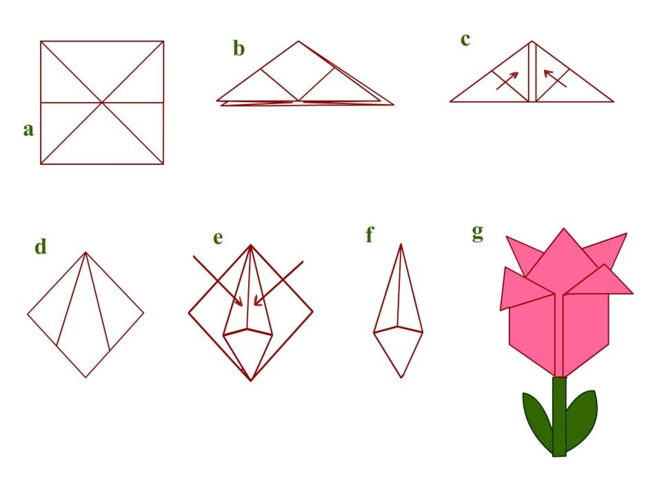 Пошаговая схема как сделать оригами цветок из бумаги