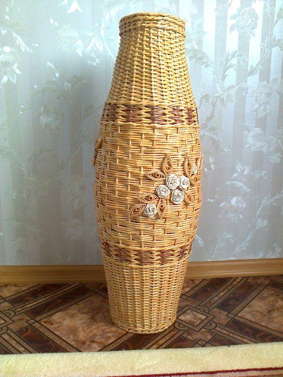 Напольная ваза из газетных трубочек. для декора вазы. спиральное плетение вазы из газетных трубочек: схемы, описание, фото.