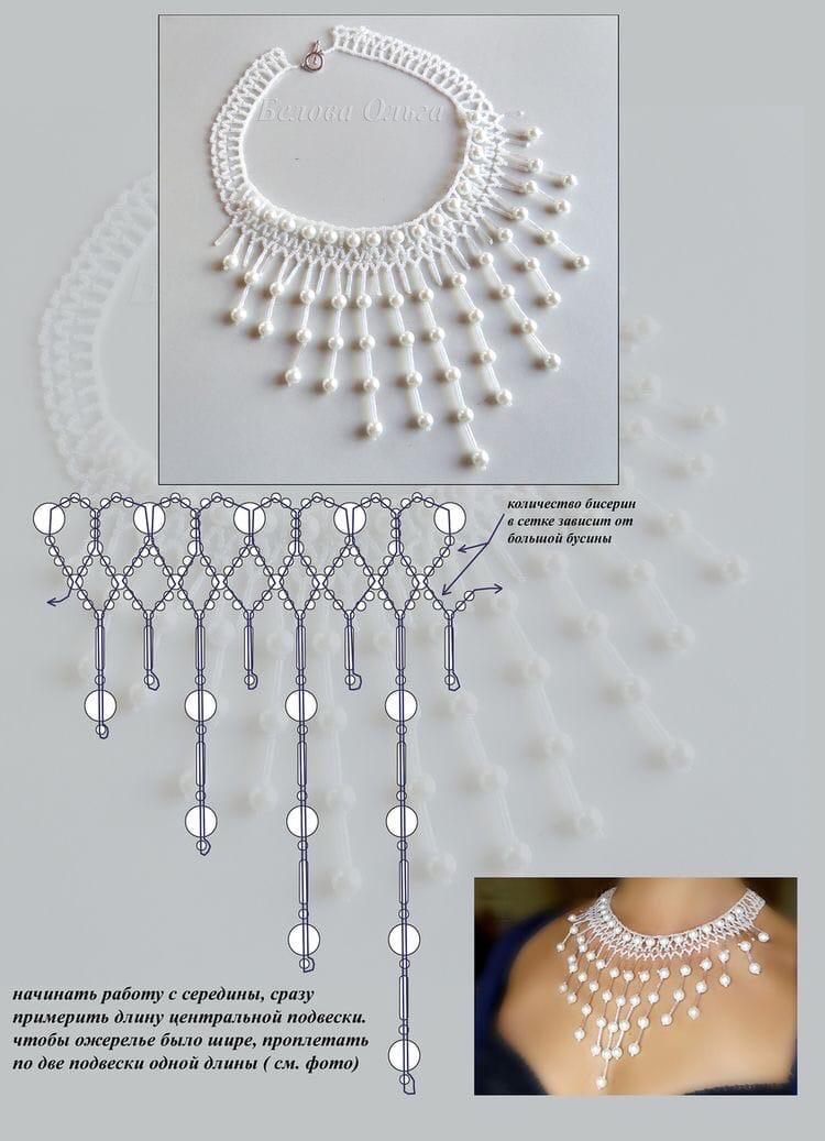 Бисероплетение: колье и ожерелья, схемы украшений, пошаговые мастер-классы