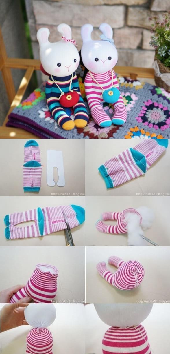Как сделать игрушку из носка без шитья — милый зайчик своими руками