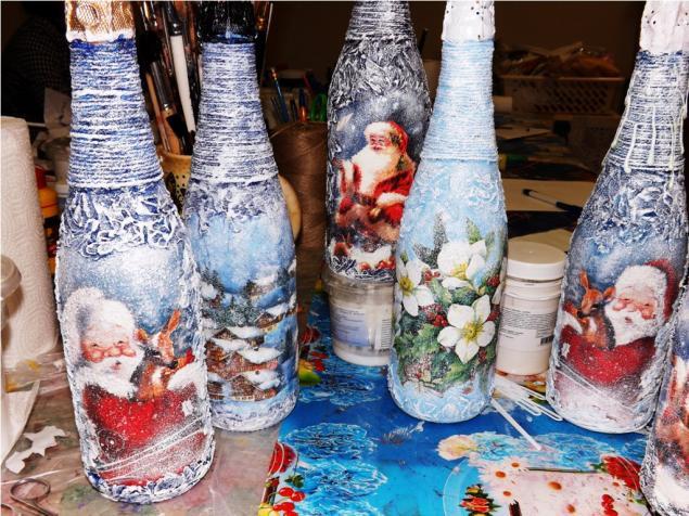 Декупаж бутылки шампанского: 95 креативных фото примеров с пошаговой инструкцией