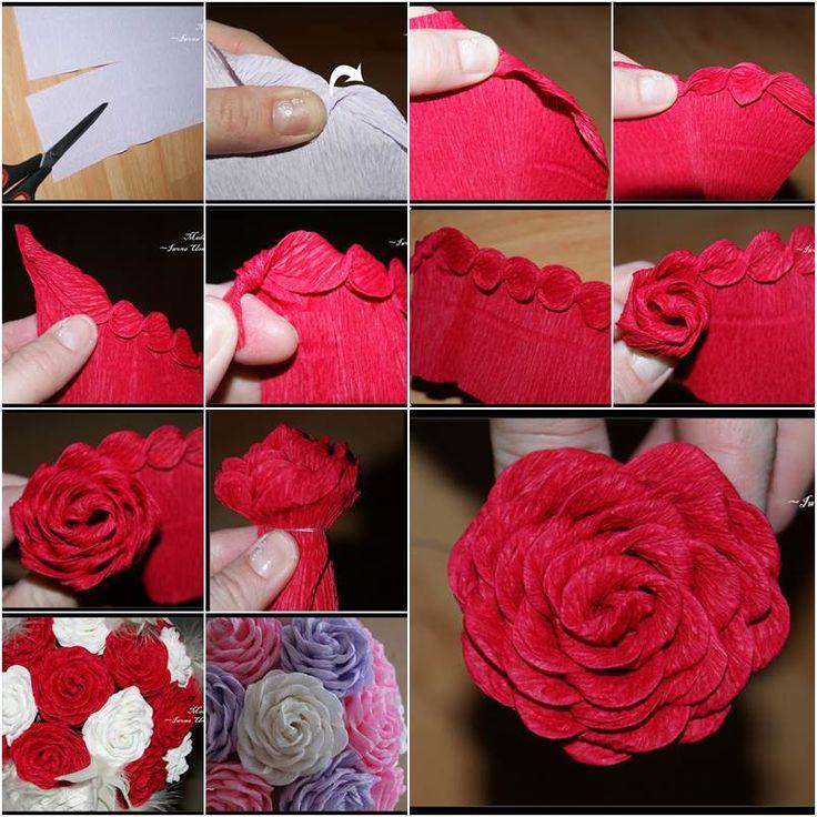 Как сделать розу из гофрированной бумаги своими руками