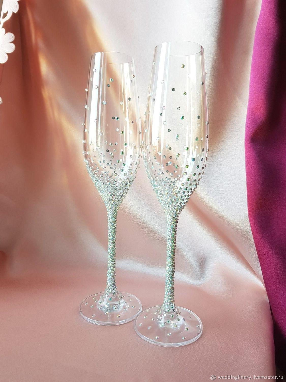 Украшения свадебных бокалов розами из пластики — своими руками