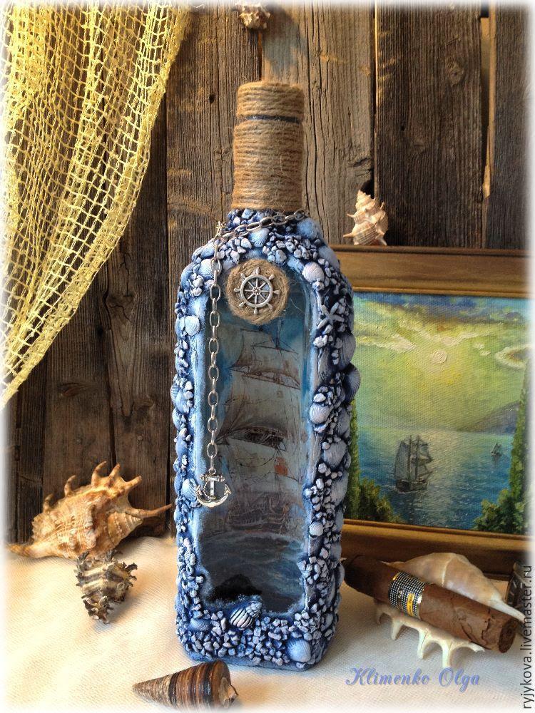 Морская бутылка. декоративная бутылка «воспоминания о море украшение бутылок ракушками своими руками