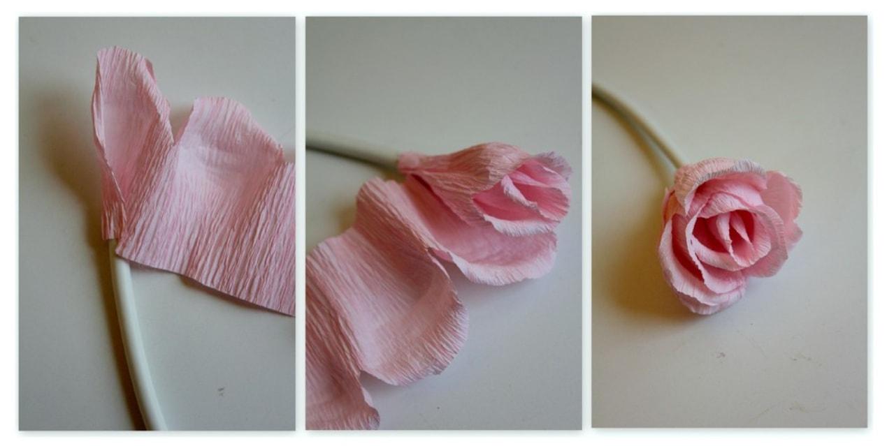 Бутон розы из гофрированной бумаги с конфетами своими руками