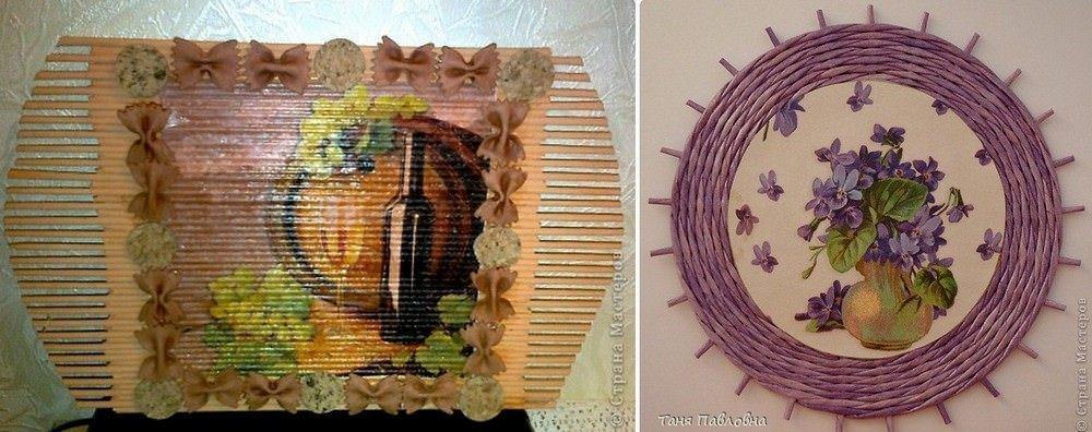 Картина панно рисунок поделка изделие свит-дизайн плетение цумами канзаши панно из газетных трубочек+канзаши немного свит-дизайна и прочее бумага гофрированная бусины ленты салфетки трубочки бумажные