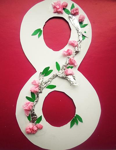 Объемная восьмерка на 8 марта своими руками. розовая восьмерка