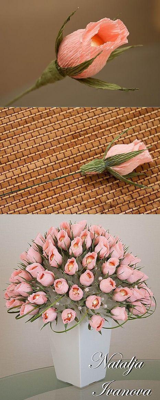 Как своими руками сделать большие цветы из гофрированной бумаги с конфетами. пошаговый мастер-класс + 75 фото роскошных букетов