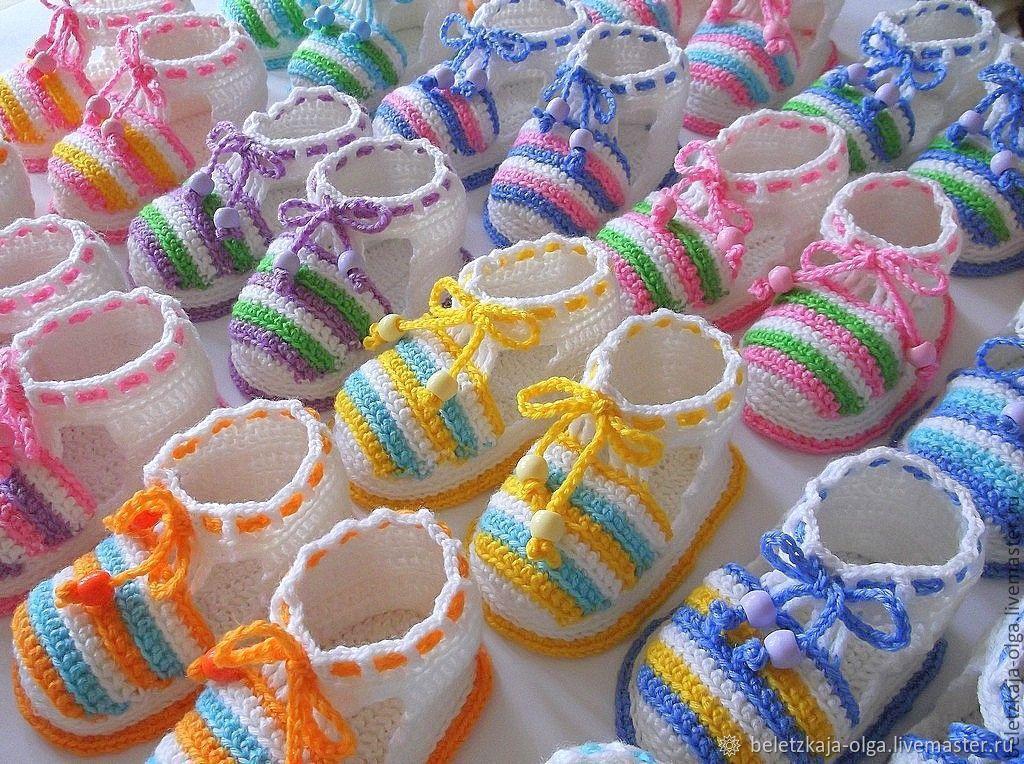 Пинетки для новорожденных, 33 схемы вязания крючком