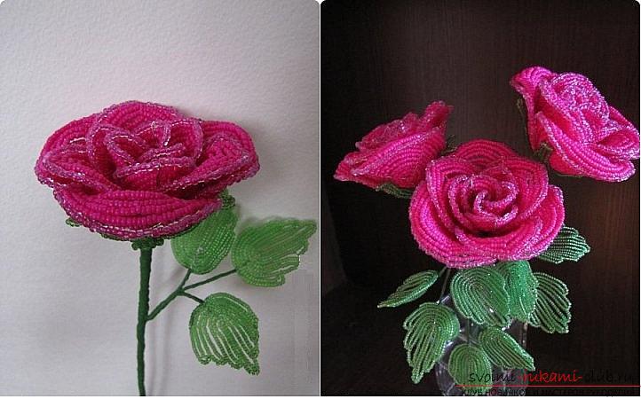 Роза из бисера ❀ пошаговое плетение для начинающих ❀ 15 идей