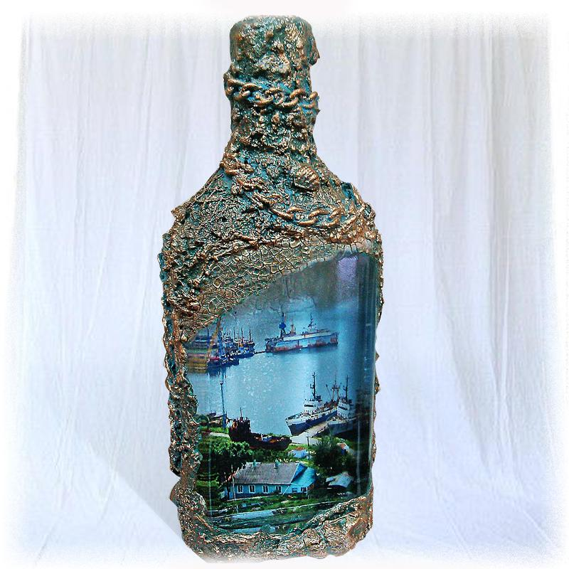 Декоративная бутылка «воспоминания о море. как украсить бутылку в морском стиле – декор своими руками как оформить бутылку в морском стиле