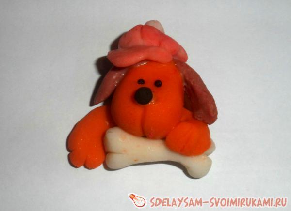 Магнит «собачка» из холодного фарфора