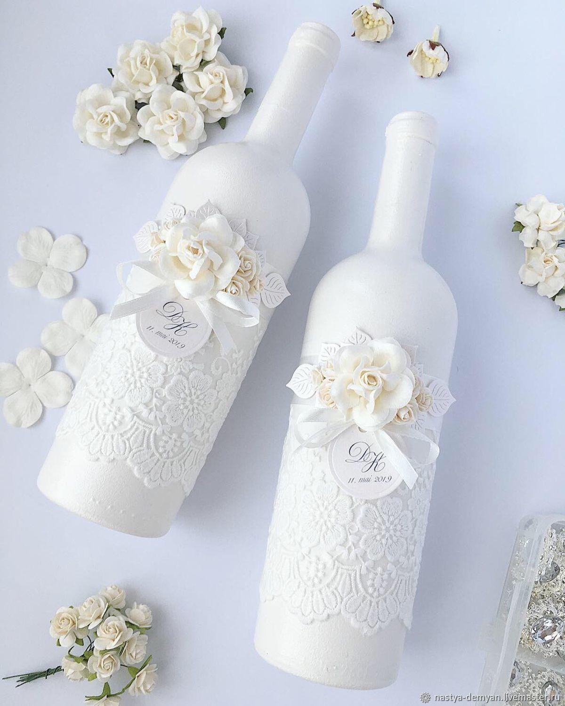 Декор бутылок шампанского на свадьбу: пошаговое оформление на фото
