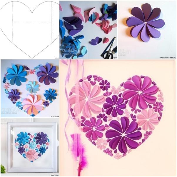 """""""Цветочное сердце"""" - поздравительная открытка"""