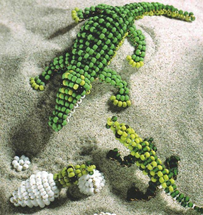 Крокодил из бисера мк | страна мастеров