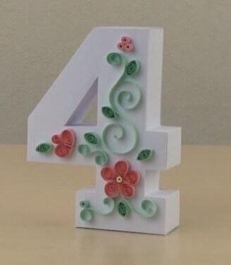 Объемные цифры из бумаги в стиле технике квиллинга 0 1 2 3 4 5 6 7 8 9 красивые декоративные контурные поделки фото готовых работ картинки на день рождения