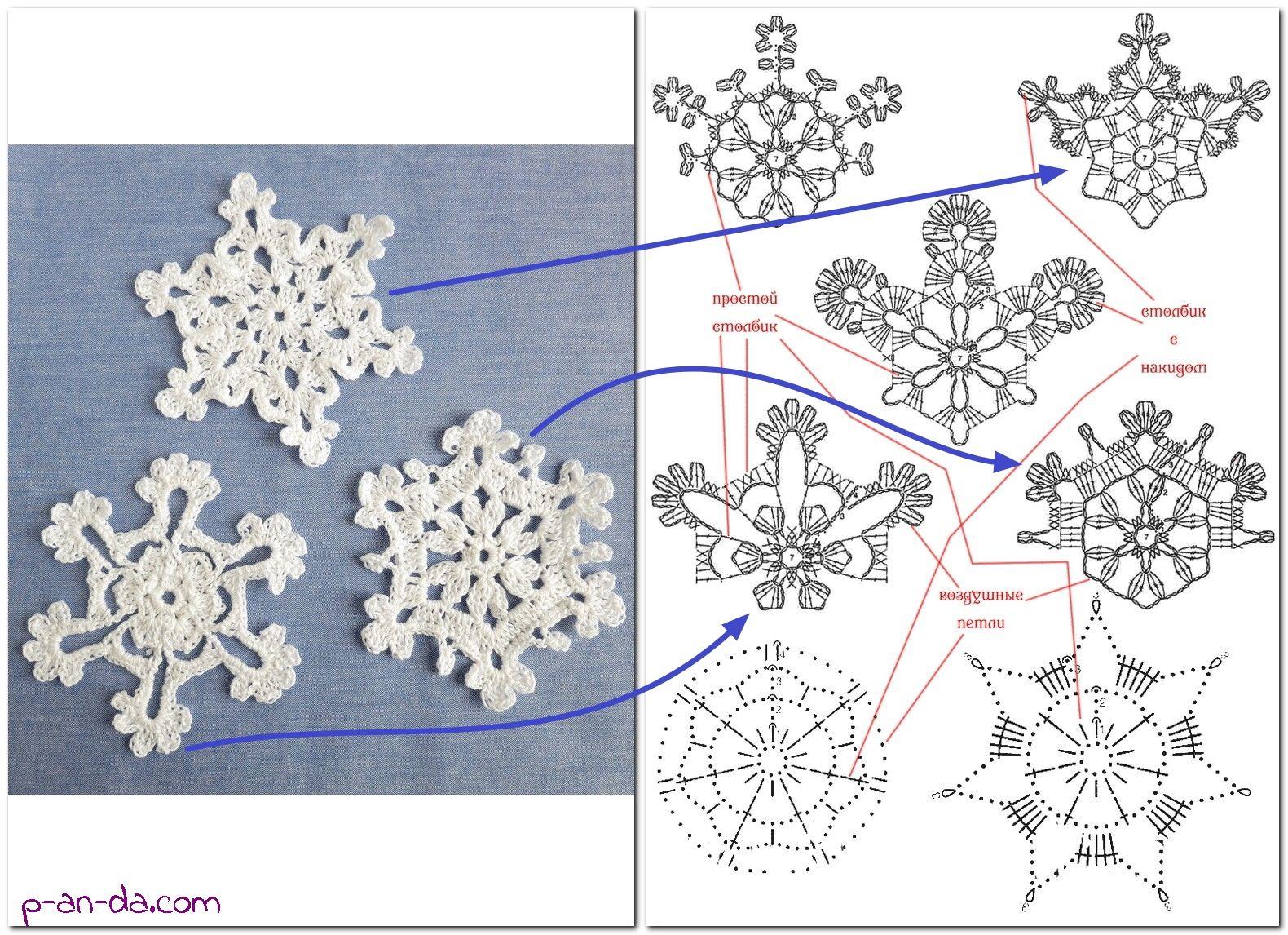 Простые и красивые снежинки крючком для начинающих и не только
