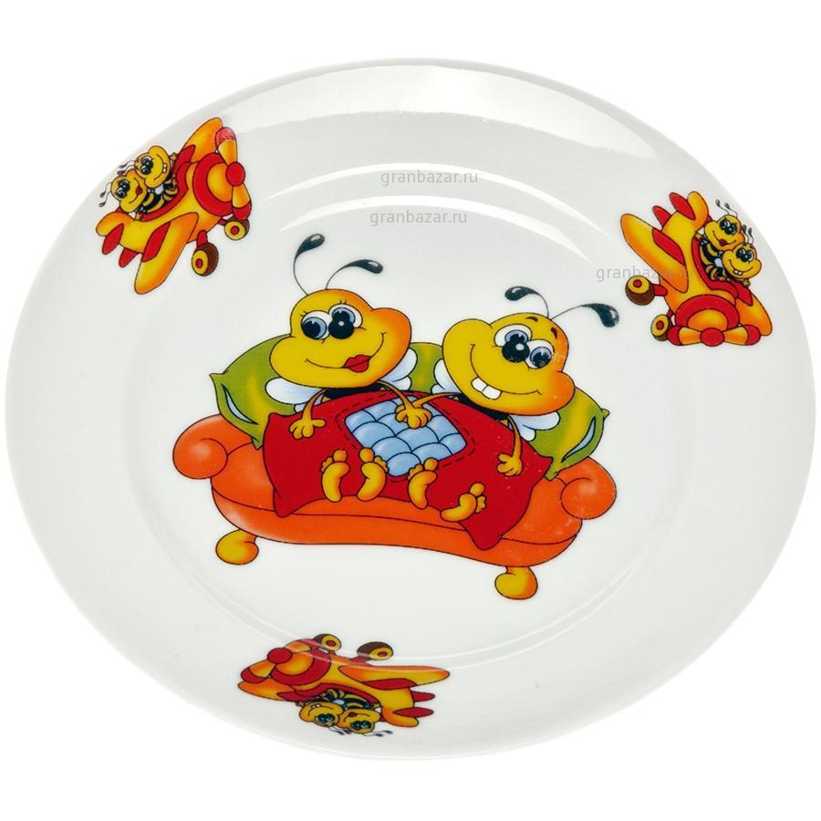 Декоративная тарелочка «пчелы на цветах»