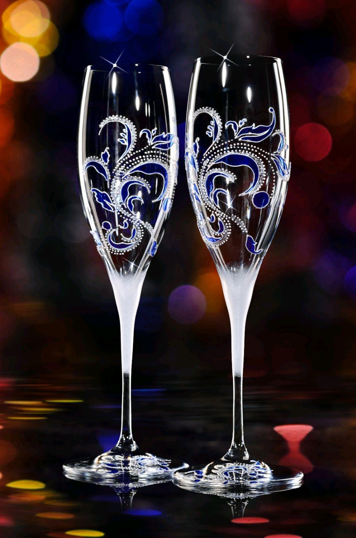 Оформление бокалов для шампанского своими руками