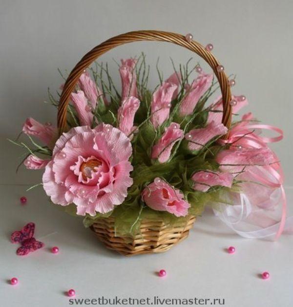 Корзинка с цветами из капрона. мастер-класс по плетению: корзина из уплотнителя и ткани приступаем к вязанию