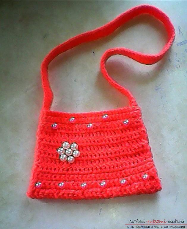 Связать детскую сумочку спицами (для девочки)