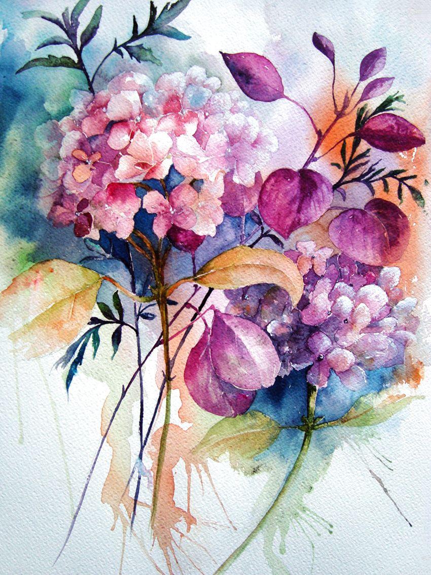 Акварельная живопись цветок, акварельные цветы, белые и оранжевые цветы png